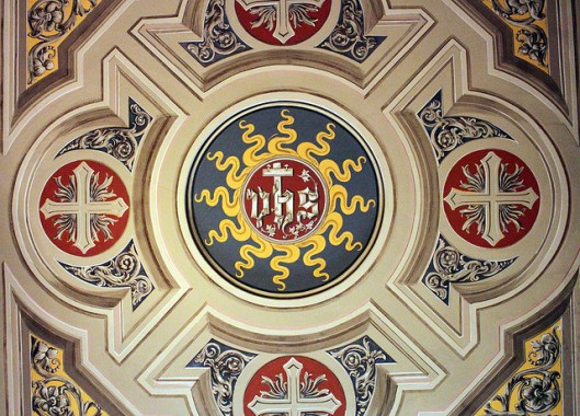 Detail from a church ceiling in Bologna, Italy