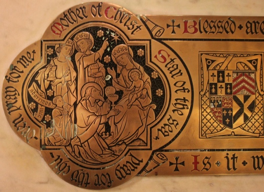 Detail of a brass in St Mary, Cadogan Street, London